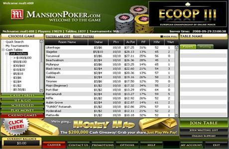 Игровое лобби на Mansion Poker