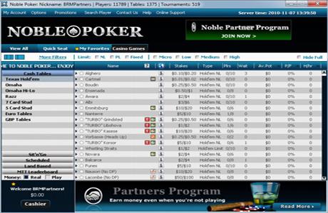 Игровое лобби на Noble Poker